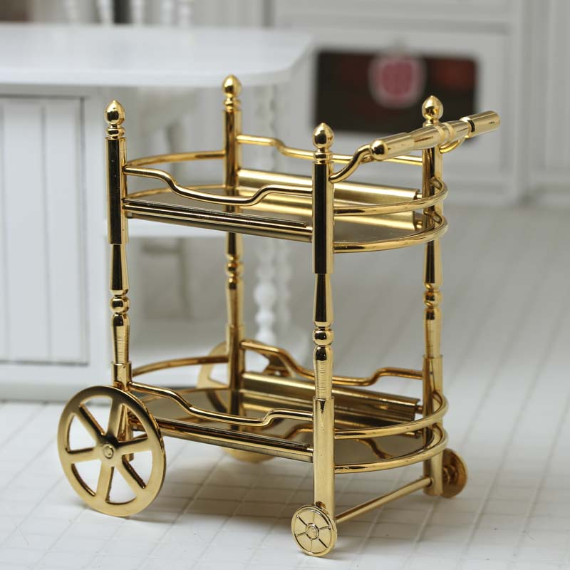 Shiny Gold Metal Dollhouse Miniature Food and Beverage Cart for Embellishing