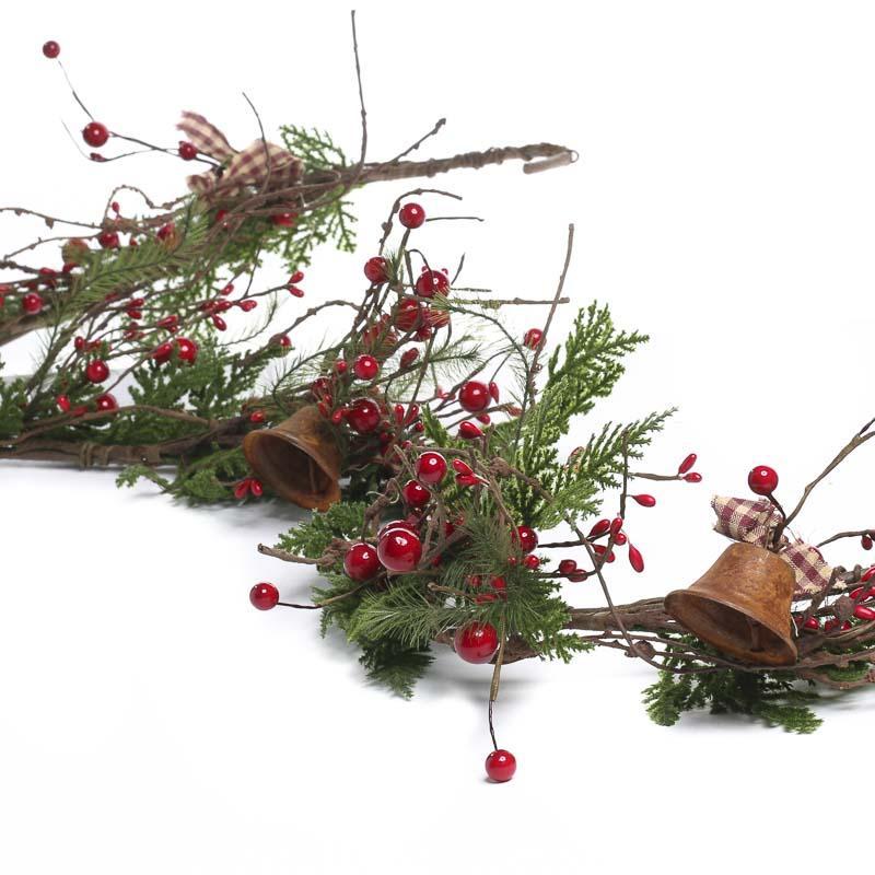 Artificial cedar and christmas bell garland