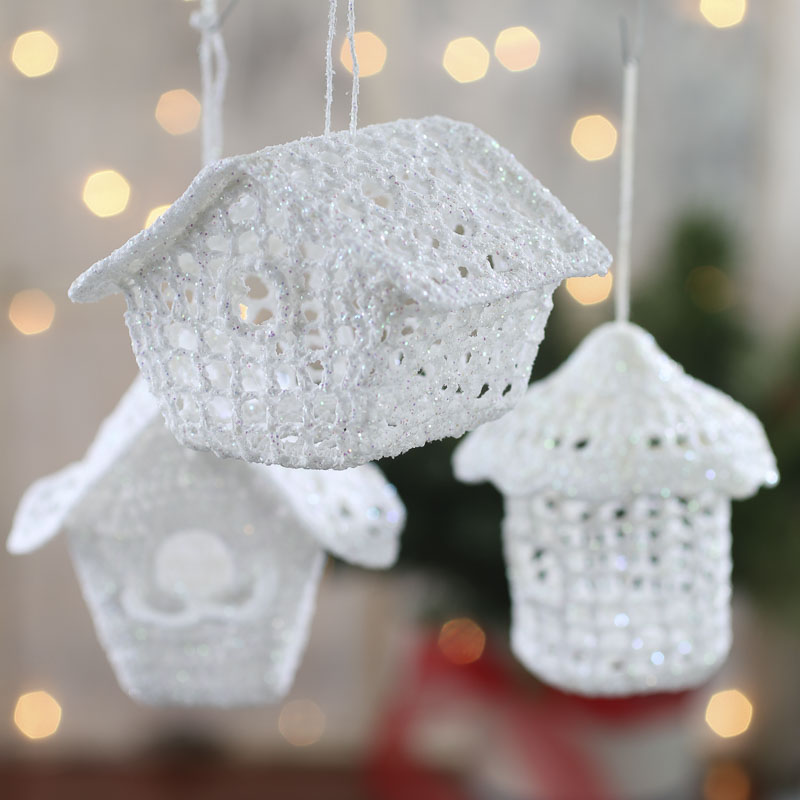 White iridescent crocheted birdhouse ornament birds for Coupons for factory direct craft