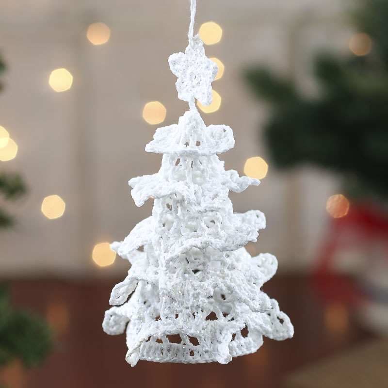 Picture Of A White Winter Wedding Table With A Tree: White Iridescent Crocheted Christmas Tree Ornament