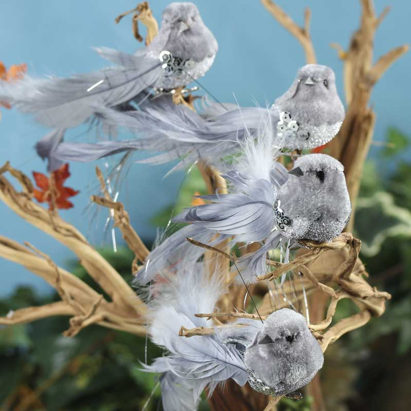 Gray velvet feathered birds birds butterflies basic for Feathered birds for crafts