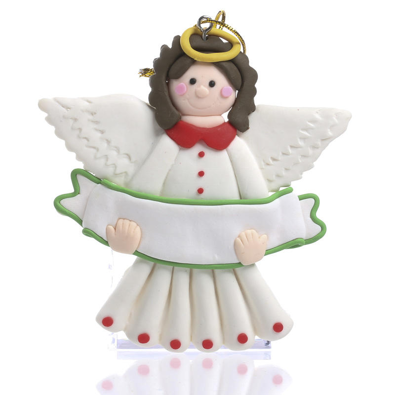 Christmas Ornament Angels From Office Supplies: Polymer Clay Angel Sign Ornament