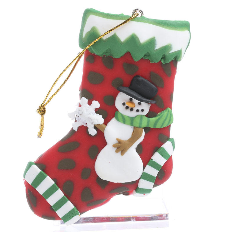 Polymer Clay Snowman Stocking Ornament - Christmas ...