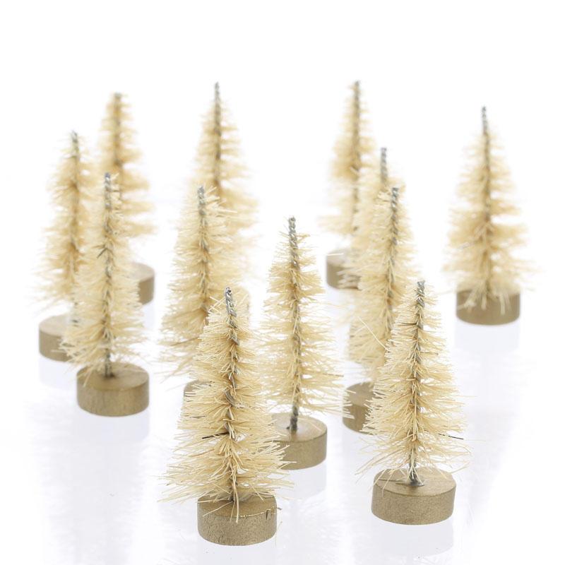 Miniature Antique White Bottle Brush Trees - Christmas Miniatures ...