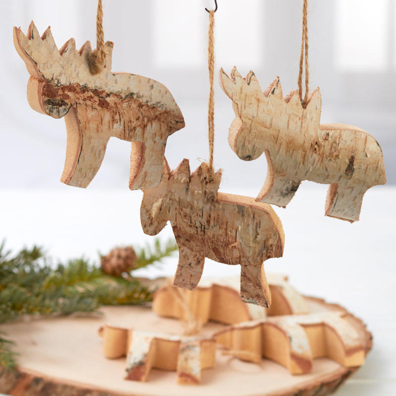 Rustic Birch Moose Ornaments - Christmas and Holiday ...