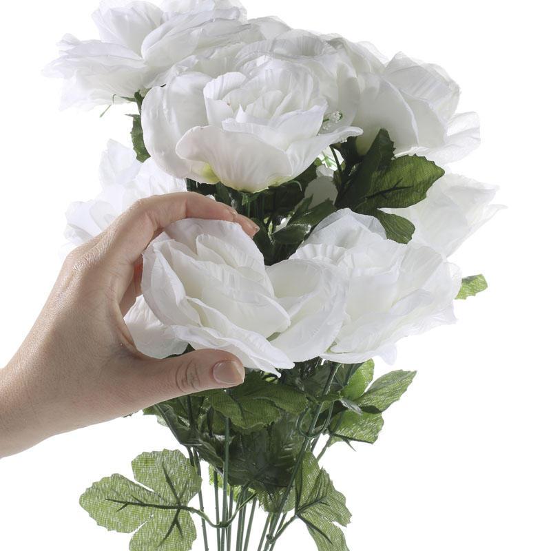 White Garden Rose Bush white artificial open rose bush - bushes and bouquets - floral