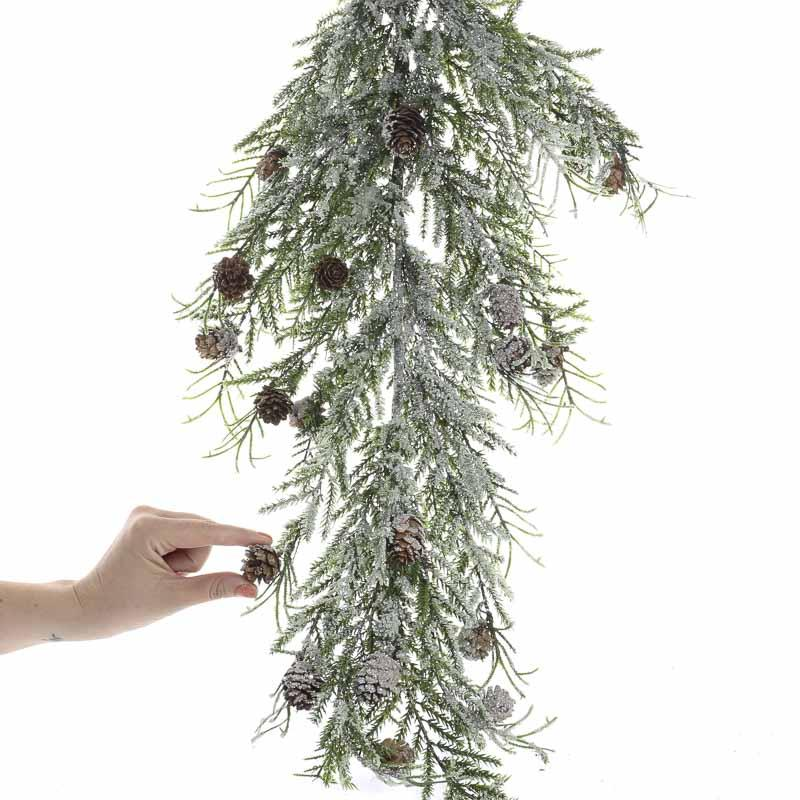 Snowy Artificial Pine And Cedar Branch Wall Art