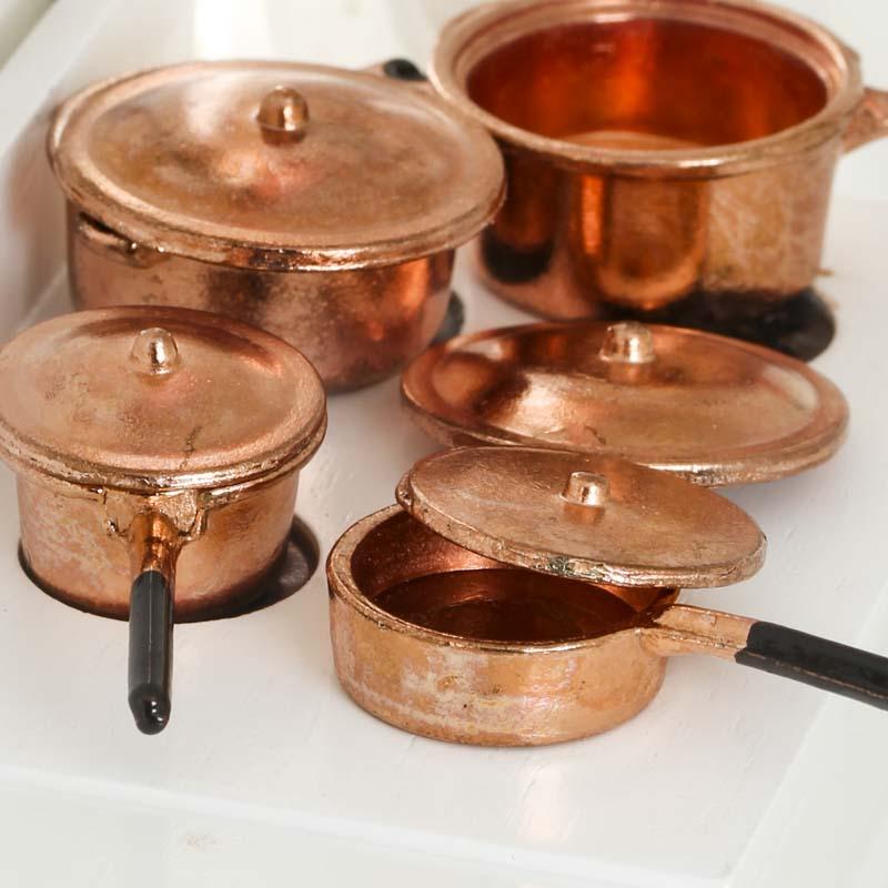 dollhouse miniature copper pots and pans kitchen. Black Bedroom Furniture Sets. Home Design Ideas