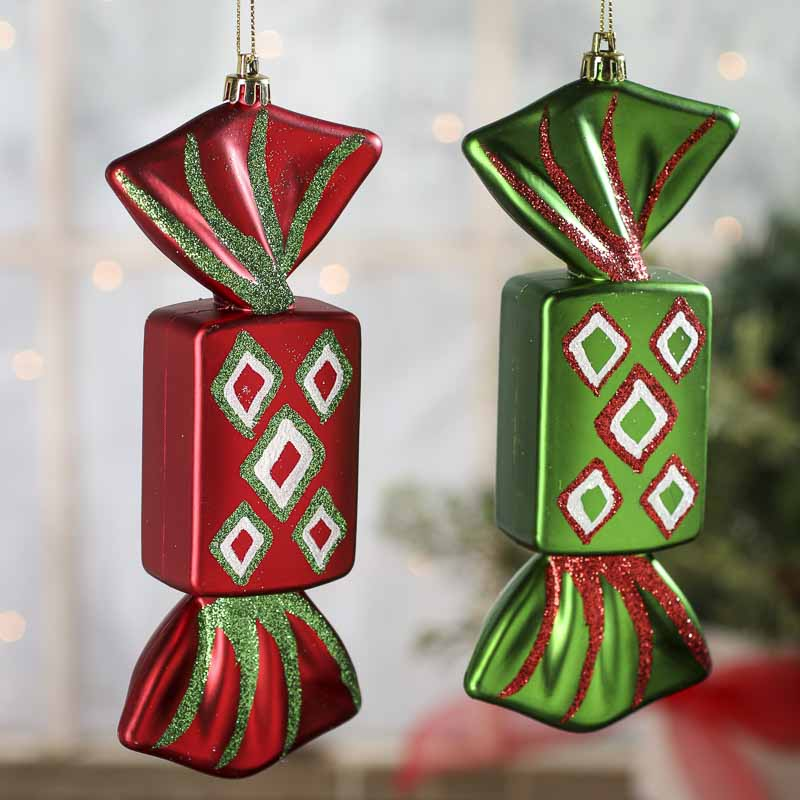 Large Sparkling Wrapped Candy Ornaments - Christmas ...