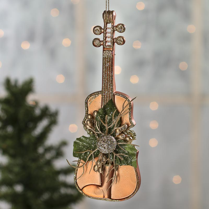 Click Here For A Larger View - Glittered Copper Violin Christmas Ornament - Christmas Ornaments