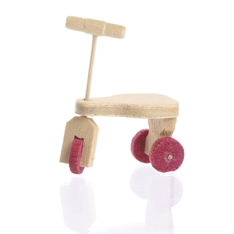 Miniature wooden scooter tricycle nursery miniatures for Wooden craft supplies online