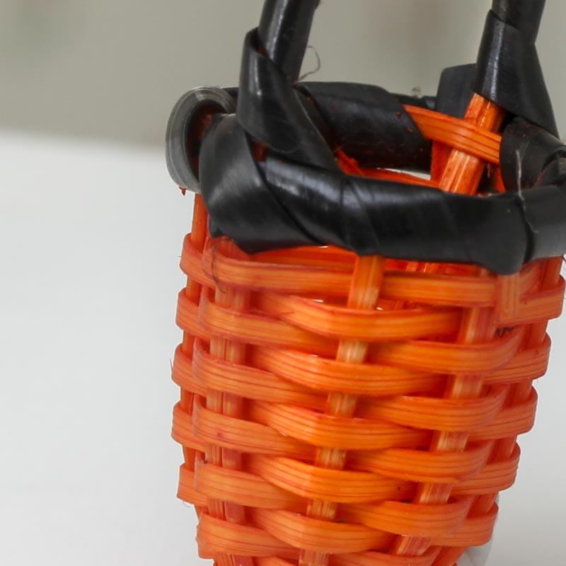 Bamboo Basket Making Supplies : Orange miniature wicker basket doll accessories