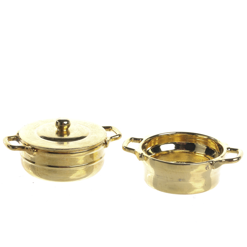 miniature brass stock pot with lid strainer new items. Black Bedroom Furniture Sets. Home Design Ideas