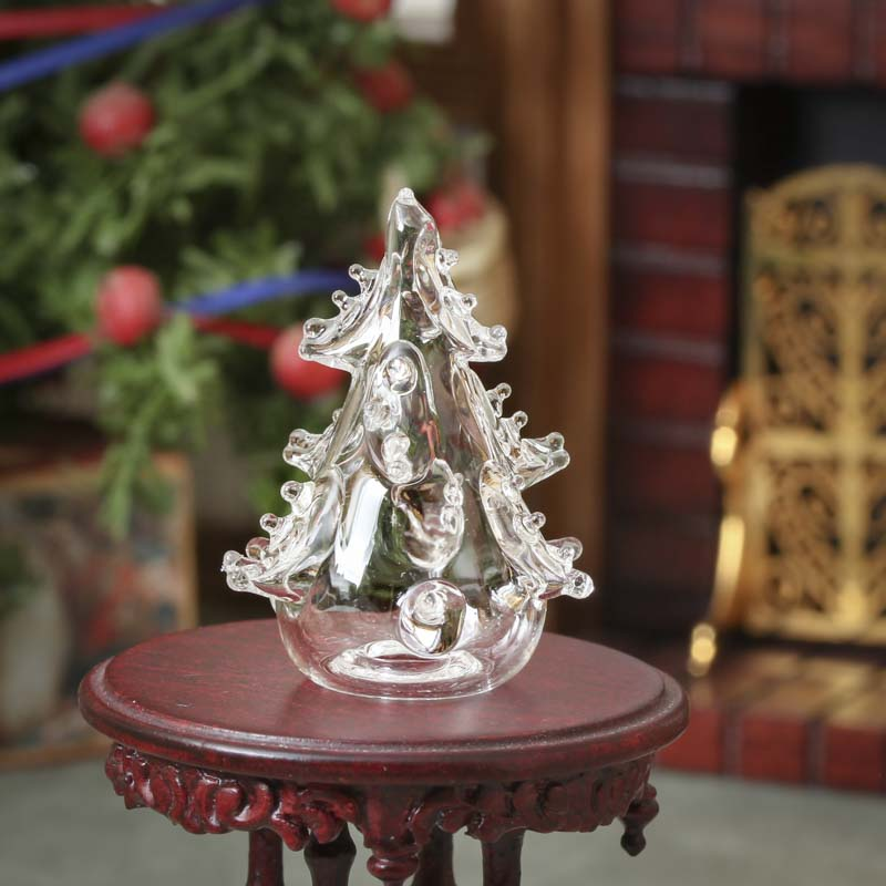 Miniature glass christmas tree living room miniatures
