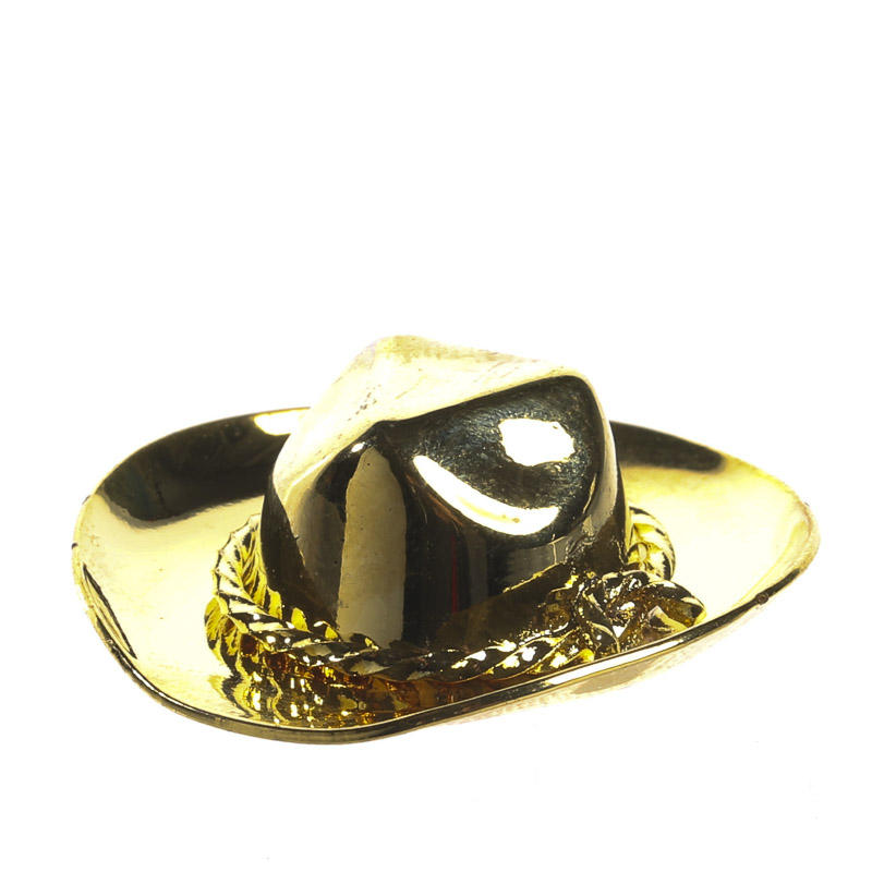 Miniature gold brass cowboy hat bedroom miniatures for Tiny cowboy hats for crafts