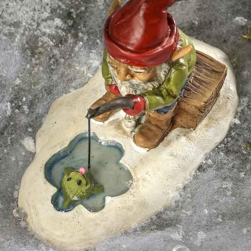 Miniature Ice Fishing Gnome Fairy Garden Miniatures