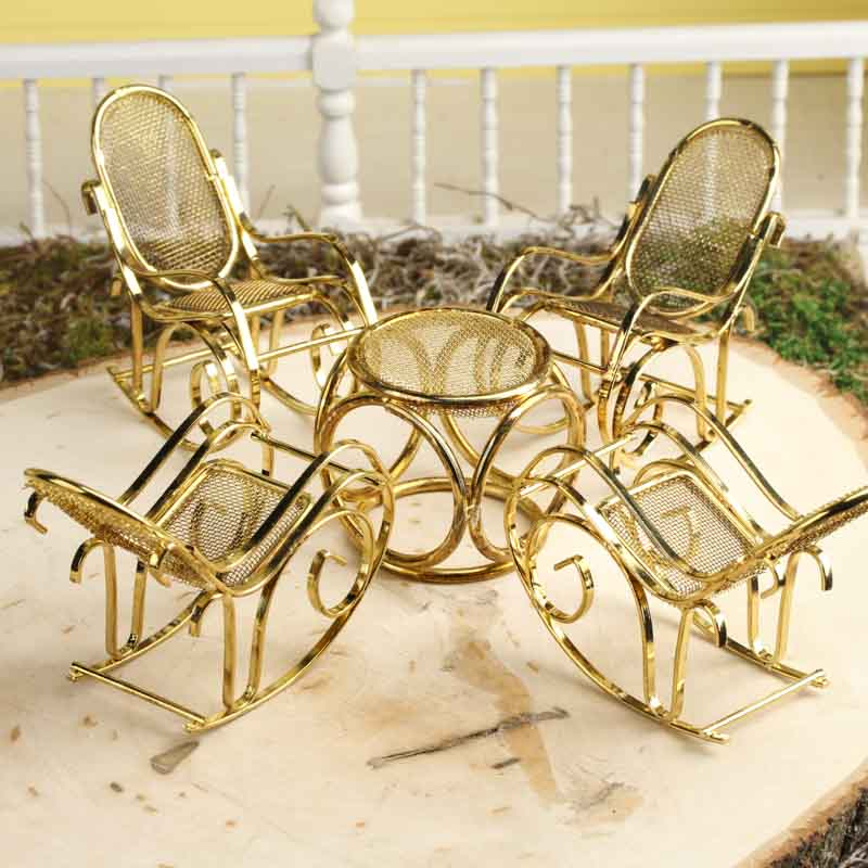 Miniature Rocking Chair Patio Set - Miniature Furniture - Dollhouse ...