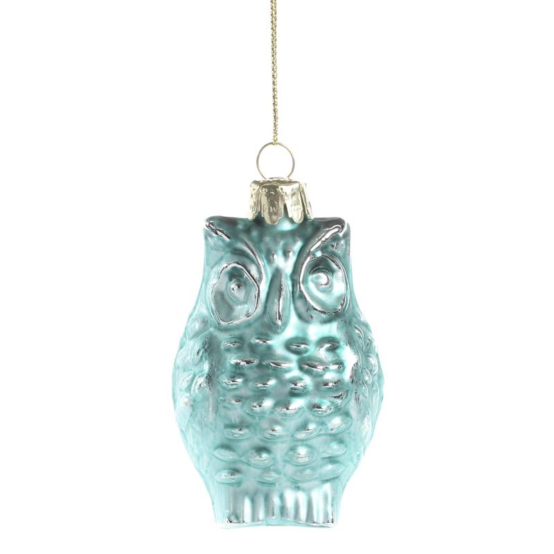 Turquoise mercury glass owl ornament christmas ornaments
