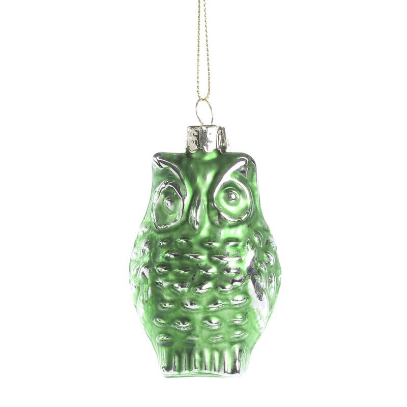 Green Mercury Glass Owl Ornament - Christmas Ornaments ...