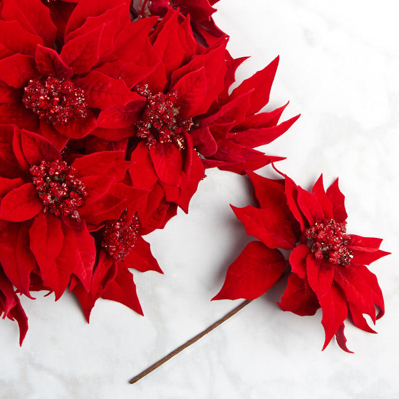 Red Artificial Poinsettia Picks Bushes And Bouquets