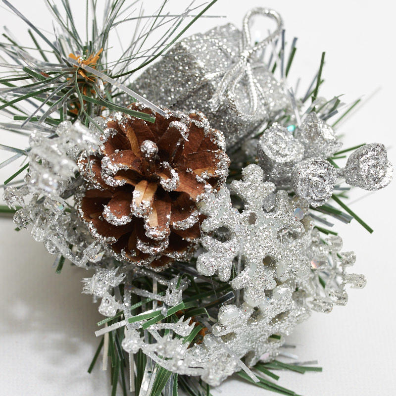 Silver Glitter Snowflake Pinecone Picks Picks And Stems