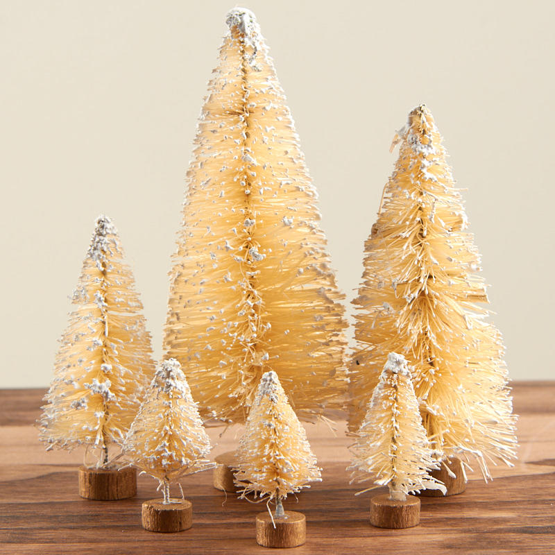 assorted frosted vintage cream bottle brush trees - Bottle Brush Christmas Trees