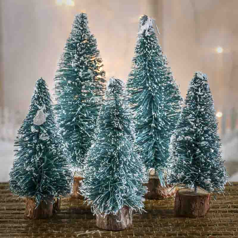 Assorted frosted green bottle brush trees christmas for Bottle brush christmas tree decorations