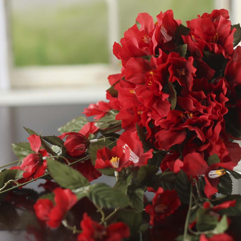 Red Artificial Rose Of Sharon Bush Bushes Bouquets