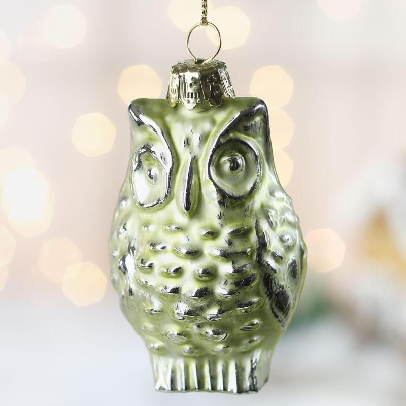 Light green mercury glass owl ornament christmas