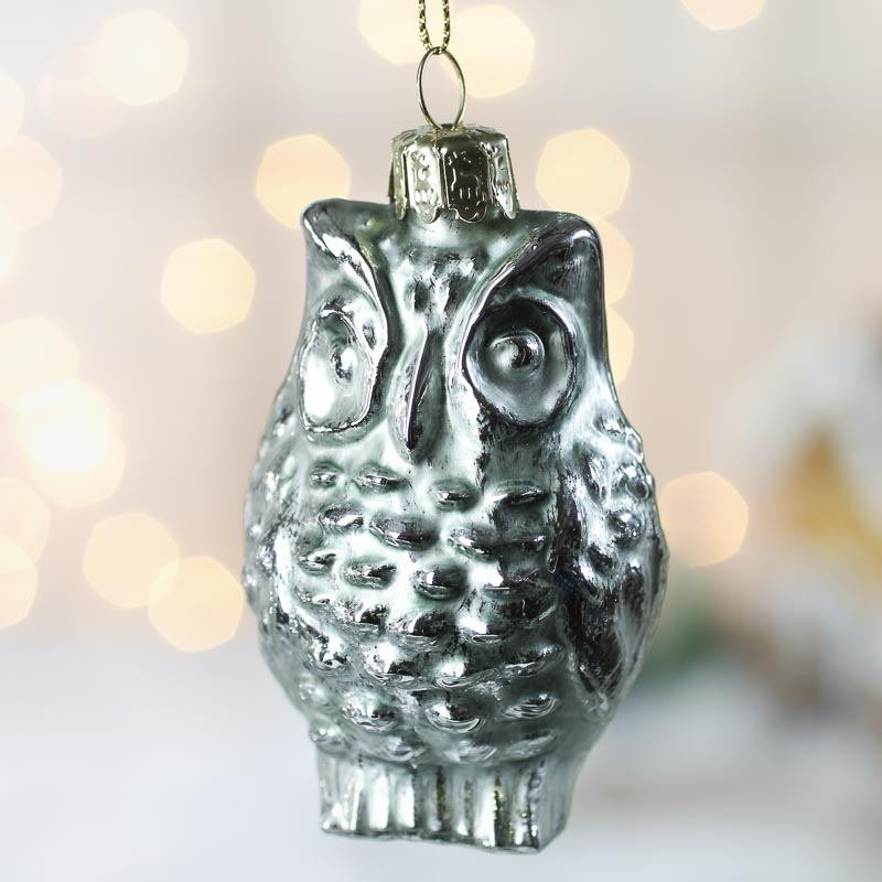 Light blue mercury glass owl ornament christmas