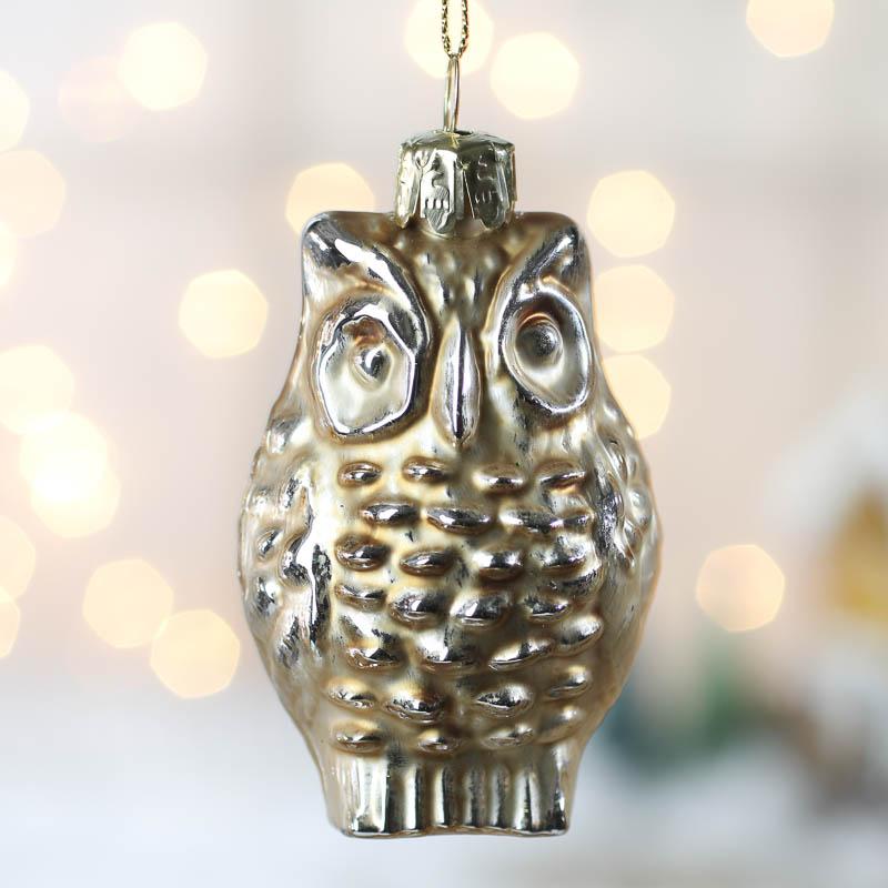Champagne mercury glass owl ornament christmas ornaments
