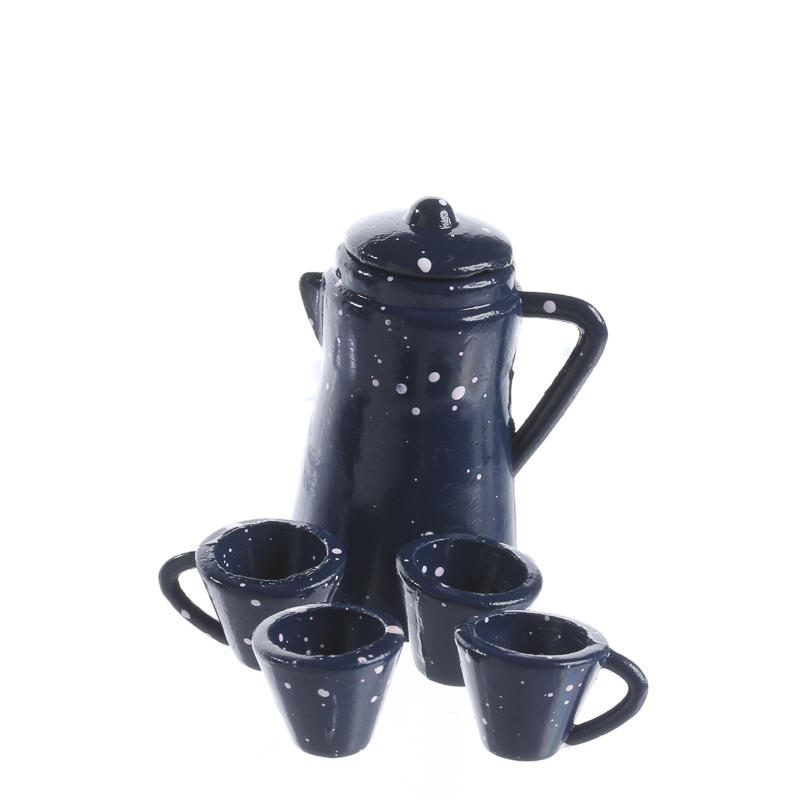 Dollhouse miniature blue speckled coffee carafe and cups for Coffee mug craft kit