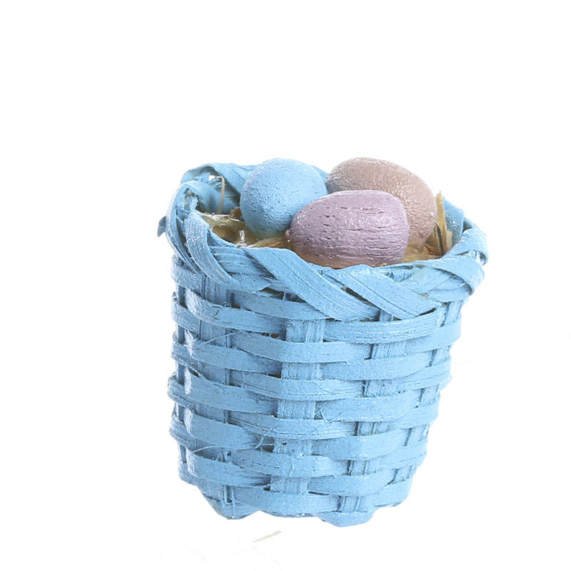 Basket making supplies catalog : Dollhouse miniature wicker easter basket food and drink