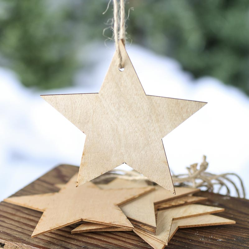 Unfinished Wood Star Laser Cut Ornaments Christmas And