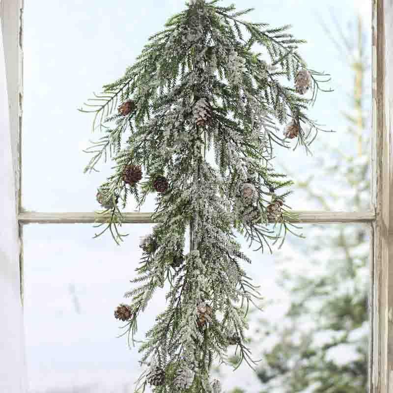 Snowy Artificial Pine And Cedar Branch Table Decor