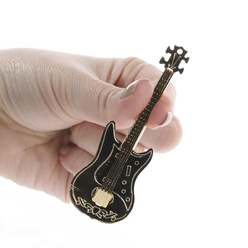miniature collectible brass electric guitar recreational miniatures dollhouse miniatures. Black Bedroom Furniture Sets. Home Design Ideas