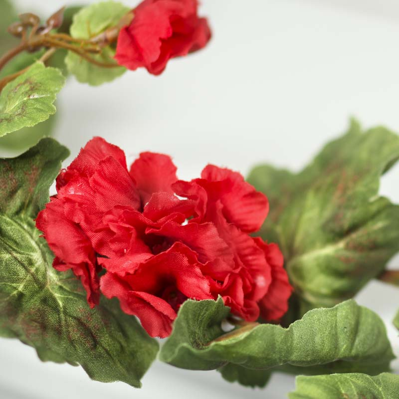 Red artificial geranium garland spring flowers floral for Geranium artificiel jardiniere