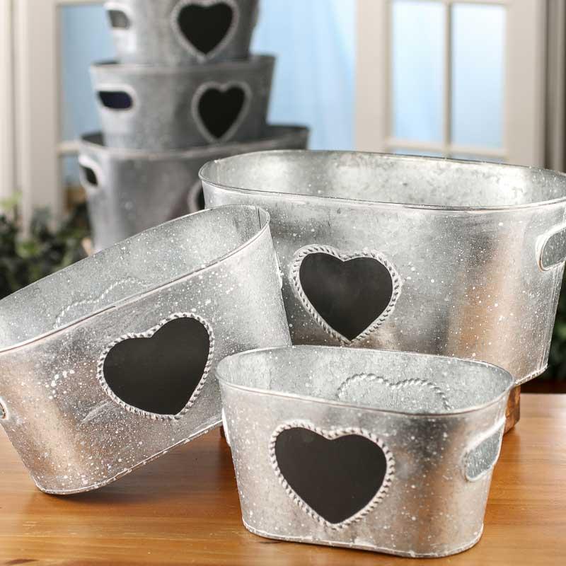 Set Of Rustic Chalkboard Heart Galvanized Tubs Baskets