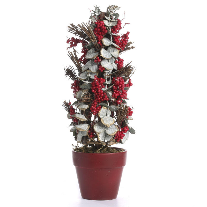 Potted Christmas Trees For Sale: Potted Artificial Eucalyptus And Twig Christmas Tree