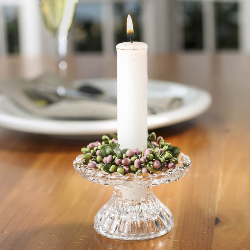Rose And Green Pip Berry Candle Ring Candles And