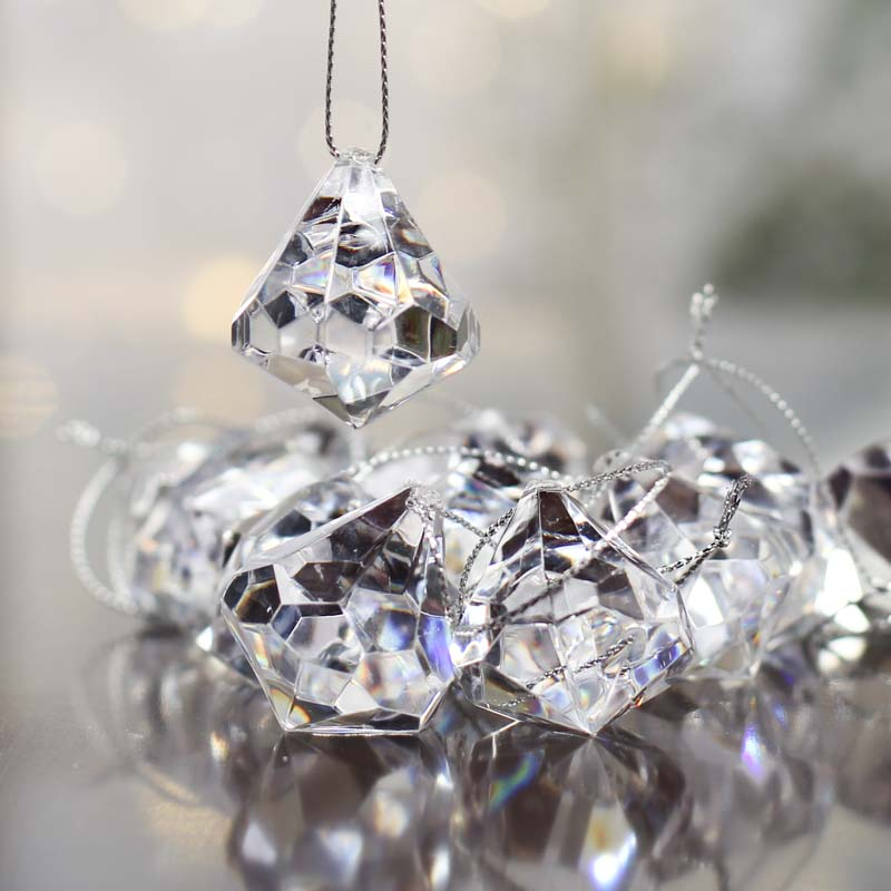 Clear acrylic diamond ornaments christmas