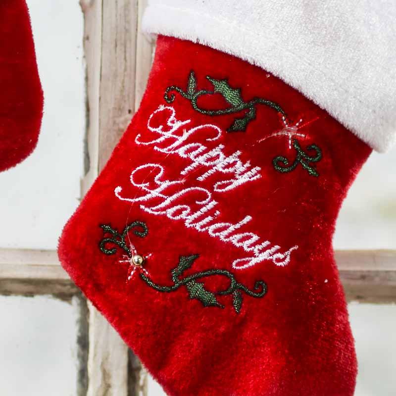 Seeking White velvet christmas stocking