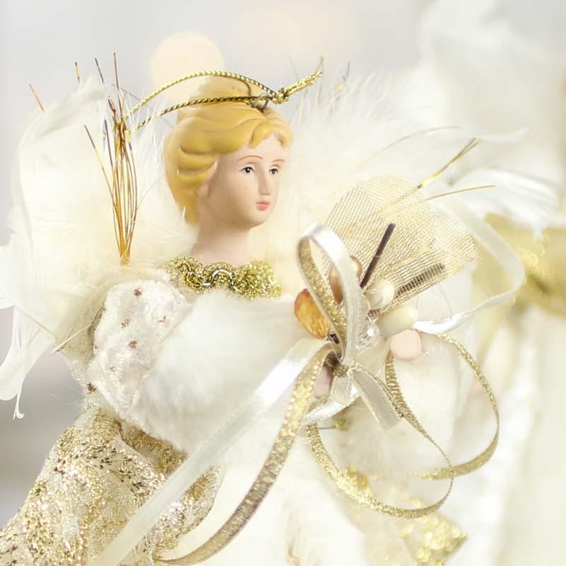 Small Angel Christmas Tree Topper: Celestial Porcelain Angel Tree Topper