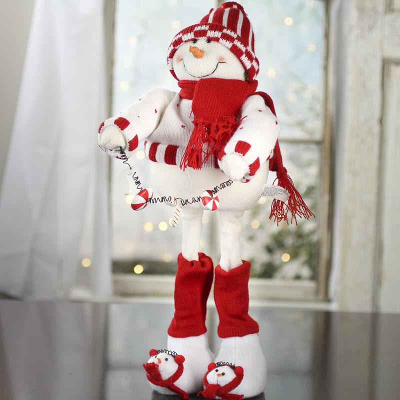 Frosty Mcpeppermint Standing Snowman Plush Table Decor