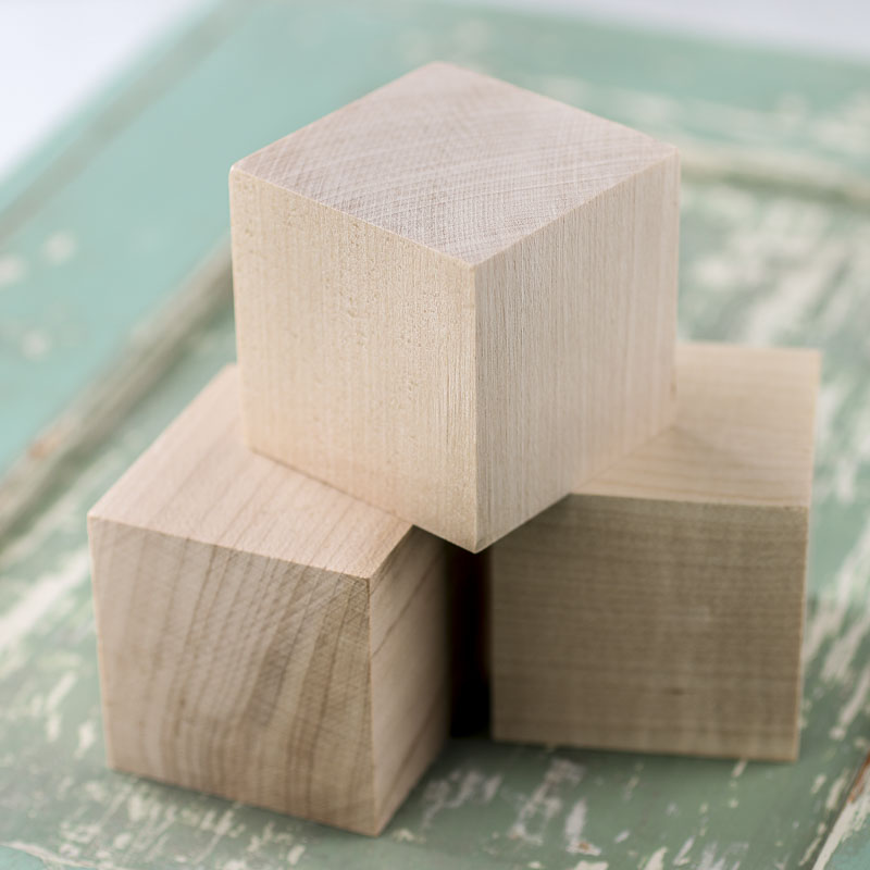 Wooden Cubes Wood Crafts Craft Supplies