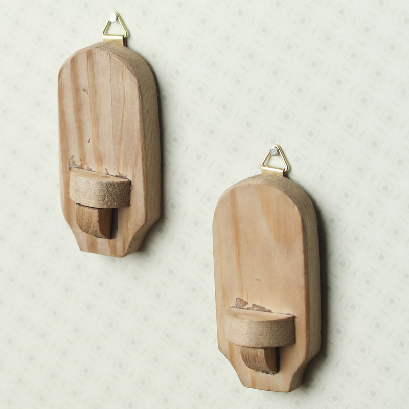 Wall Sconces Wood : Miniature Wood Wall Sconces - Living Room Miniatures - Dollhouse Miniatures - Doll Making ...
