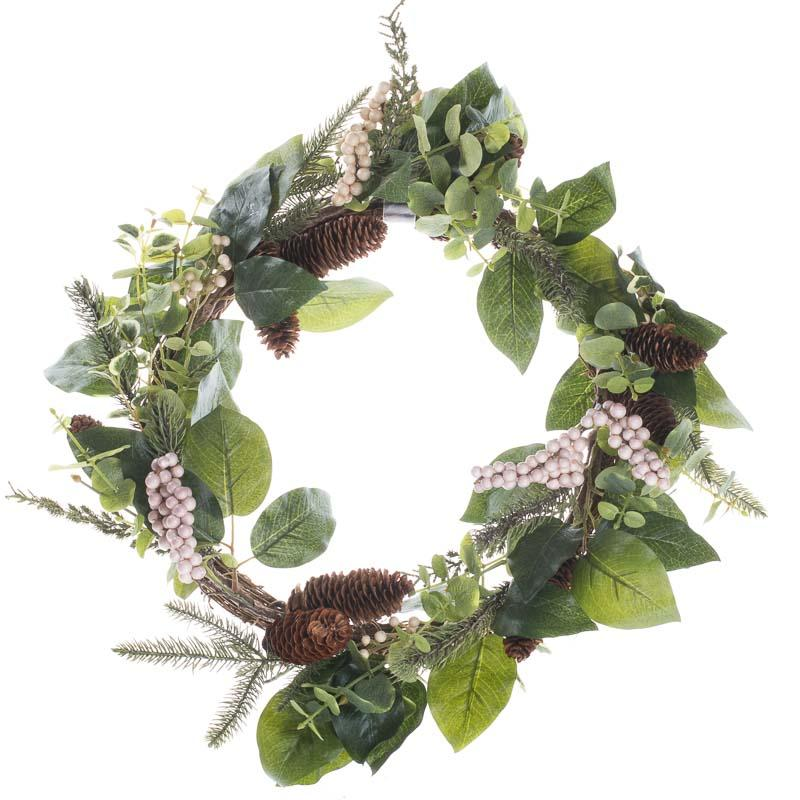 Woodland Artificial Pine and Berry Wreath - Wreaths ...