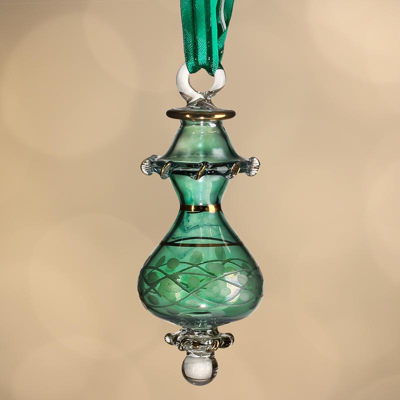 Hand blown egyptian pyrex glass ornament christmas