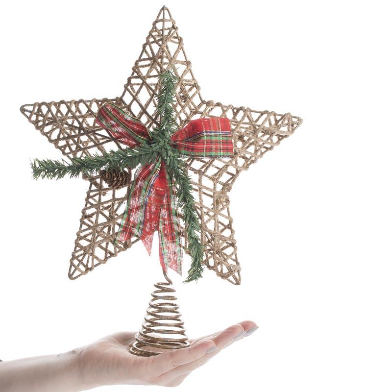 Sparkling Jute Star Tree Topper Christmas Trees And