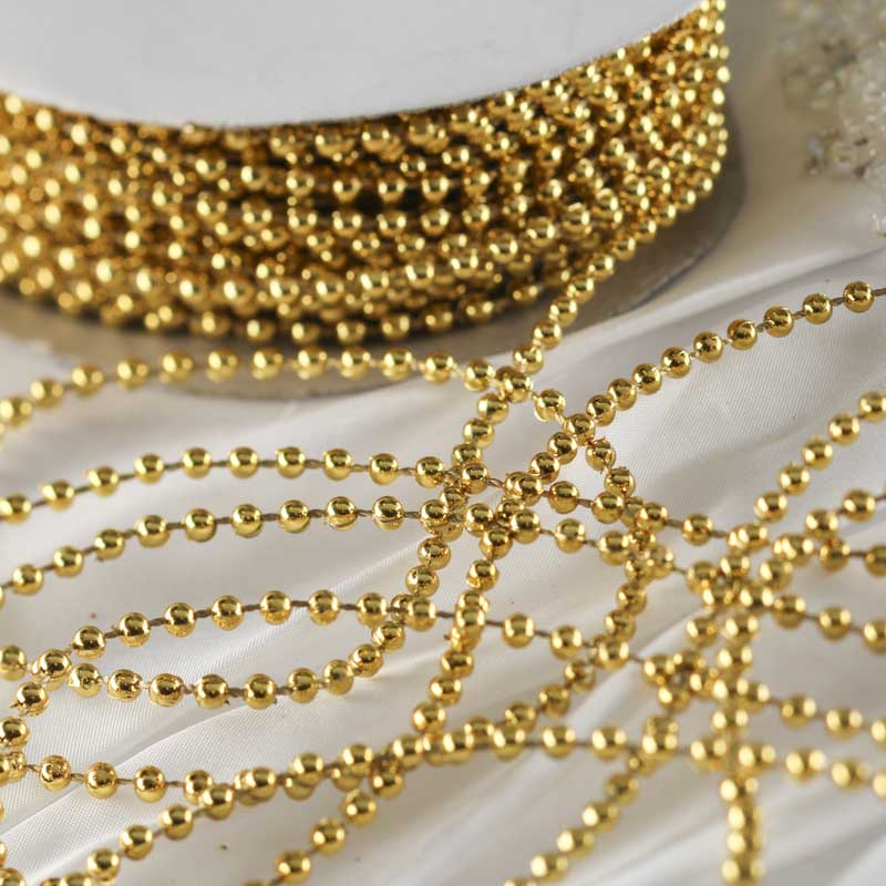 Pearl Beads: Gold Metallic Fused String Pearl Beads
